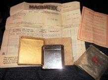 VINTAGE COLLECTABLE MAGNA LIGHTER TORCH ORIGINAL BOX & PAPERS ENGINE TURNED